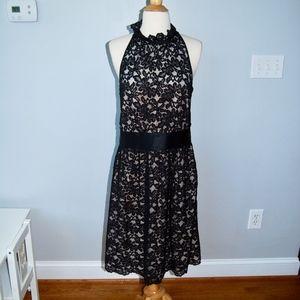 Black Lace High Collar Dress w Champagne Underlay
